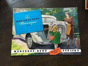 Prospekt Auto / Oldtimer Mercedes-Benz Typ 170 V - W136 - und Faltblatt PKW 1951