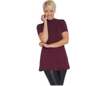 H by Halston Essentials Mock Neck Short-Sleeve Tunic Color Bordeaux Size 1X