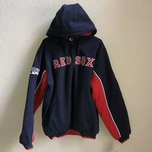 NWT Red Sox 2007 World Series Champions Men's M Hooded Pullover Jacket Blue Red