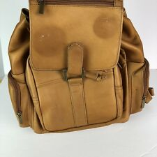 Vintage Brown Leather Backpack Rucksack Large Zipper Bag Back Pack