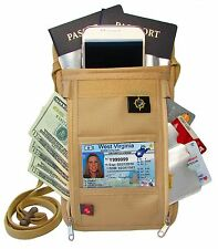 Neck Wallet (Passport Holder)Travel Wallet/MoneyPouch & BONUS RFID Sleeves-Khaki