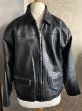 Mens GENUINE Black Leather Vintage Classic Biker Jacket YKK Zip, Sz M, Good Cond