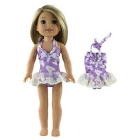 14.5 inches Dolls Clothes Printed Strap Swimsuit Swimwear for Wellie Wishers