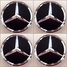 (SET OF 4) 75mm MATTE BLACK CHROME STAR WHEEL CENTER CAPS FOR MERCEDES A1WC502