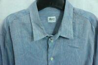 Armani Collezioni Flax Cotton Blend Shirt Men's XL Designer Dress Button Front