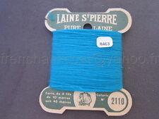 R463 Mercerie ancienne carte fil LAINE SAINT PIERRE N°2110 turquoise 4 fils