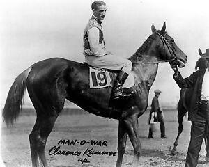 Man-O-War on Clarence Kummer,  8x10  B&W Photo