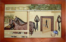 3D Holzbild Wandbild 30 x 21 cm Pferdestall, Handarbeit