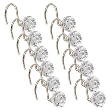 Pack of 12 Shower Curtain Hooks Elegant Diamante Style Crystal Gems