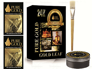 100 sheets Gold Leaf Kit  Gold  sheets 10ml Adhesive Brush. Gilding,  in box