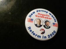 New Jersey Reform Party Pin Back Presidential Campaign 2000 Button Hagelin Flag
