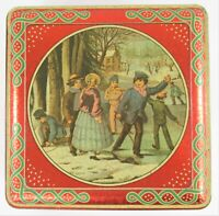 Vintage Daher Long Island Tin Made In England Winter Scene of Children Playing