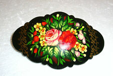 BEAUTIFUL RUSSIAN HANDPAINTED HAIR BARRETTE ~ NEW ~ SIGNED BY ARTIST