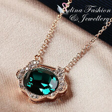 18K Rose Gold GP Made With Swarovski Crystal Oval Cut Retro Emerald Necklace