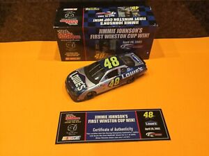 RC AUTHENTICS 1/24 JIMMIE JOHNSON #48 LOWES APRIL 28, 2002 FIRST CUP WIN RARE