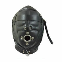 Real leather suffocating hood gimp cuir slave air tight kink Cosplay leder