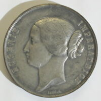 Medaille Eugenie de Imperatrice Palais de L'inaustrie 1855 Frankreich Zinn sf