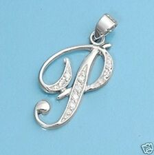 P Letter Alphabet Initial CZ Pendant Sterling Silver 925 Best Price Jewelry Gift
