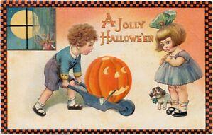 Winsch Halloween w Both Schmucker & Freixas Art -Boy Brings Pumpkin to Girl RARE
