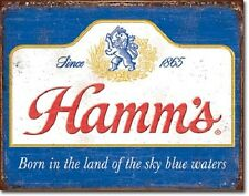 """16"""" X 12 1/2"""" Tin Sign Hamm'S Born In The Land Of Sky Blue Waters Metal Sign New"""