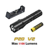 NiteCore P20 V2 LED 1100 Lumens Tactical Flashlight Torch + Battery + Charger