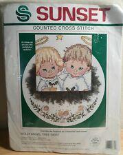 Sunset Holly Angel Christmas Tree Skirt Ruth Morehead Cross Stitch Kit #18335