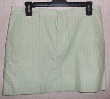 NEW WOMENS RALPH LAUREN GREEN W/ PINK STRIPE OXFORD CLOTH MINI SKIRT SIZE 6