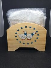 Vintage Country Farmhouse Wooden Avon Gingham Geese Coaster Set Of 6 + Holder