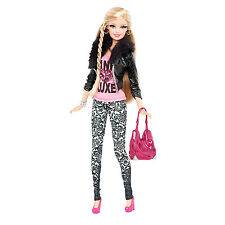 2013 BARBIE STYLE DOLL in Black Faux Snakeskin Jacket ~FULLY POSEABLE!~ NEW