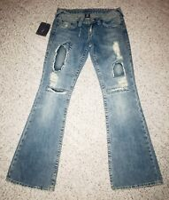 New True Religion Women's Denim Blue Jeans Size 29 Flare Wash Patch Ripped Torn