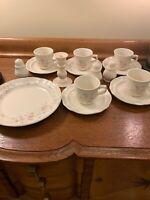 Pfaltzgraff Tea Rose Mismatch Dish Set S&P Mugs Saucers Dinner Plate Candle Hldr