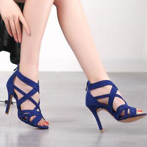 Women's Gladiator Plus Size Cross Brand Stilettos High Heels Clubwear Sandals