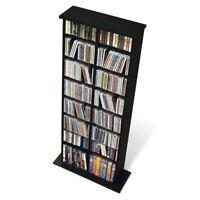 """Prepac 51"""" Double Slim CD DVD Wall Media Storage Rack in Black"""
