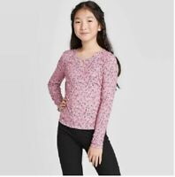 Girls' Long Sleeve Rib Key Hole Top Blouse Art Class Pink XL 14/16 NEW Floral