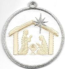 Metallic Silver White Satin Nativity Scene Christmas Patch Ornament Double Sided