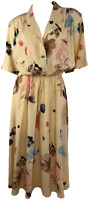 Vintage Deadstock 80's Soft Peach Watercolor Floral Midi Dress by Jessica Howard