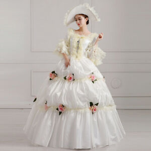 Women Victorian Royal Retro Gown Wedding Party Dress Medieval Princess  Costume