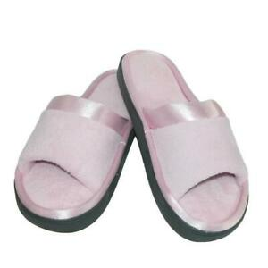 ISOTONER Women's Microterry Satin Trim Wider Width Slide Slippers Scuffs PINK