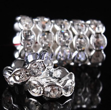 100pcs/lot 8mm white wave Crystal Rondelle Spacer Silver Plated Loose Beads