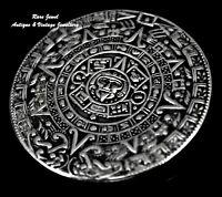 MAYA CALENDAR STERLING SILVER PENDANT & BROOCH BEAUTIFUL DETAIL MEXICAN TAXCO