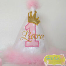 Birthday Number (Baby Pink) with Crown (Gold) Party Hat