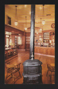 Pot bellied stove & chandeliers drugstore The Upjohn Co. Disneyland CA Postcard