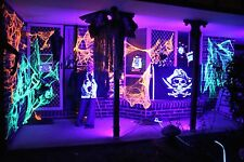 Black Light Glow Party Kit - 4 Long UV UltraViolet Lights With Power Adapters