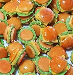 50 Dollhouse Miniature Cheeseburgers * Doll Mini Fast Food Burgers Wholesale Lot