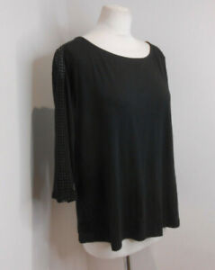 BNWT Marks & Spencer Collection black jersey check lace sleeve top 18 Petite NEW