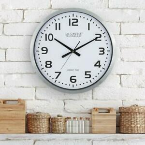 La Crosse Technology Wall Clock Atomic Analog Glass Face Daylight Saving 20 in W