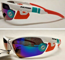 READ LISTING! Miami Dolphins XLGE 3D logo on WHITE BLADE Sunglasses! SOFT FEEL!