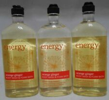 3 Bath & Body Works Aromatherapy Energy Orange Ginger Body Wash foam bath NEW