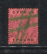 CYPRUS KG V SG102 1924 - 8 £1 PURPLE & BLACK RED USED as FISCAL REVENUE
