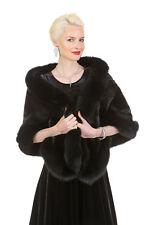 Genuine Ranch Real Mink Fur Stole Shawl Cape for Women Black Fox Trim - The Lana